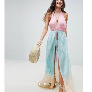ASOS OMBRÉ MAXI BEACJ COVERUP WITH TIE FRONT